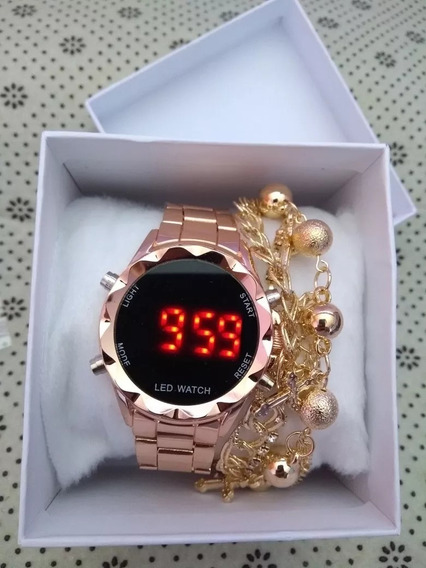 Relógios Feminino Pulseira Aço Led Digital - 01 Unidade