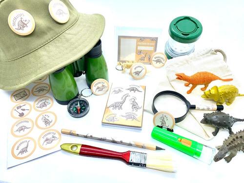 Imagem 1 de 10 de Super Kit Dinossauros Paleontólogo Ecobag - 23 Ítens