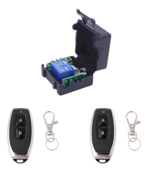Kit 1x Relé Rf 433mhz 12v 1ch + Case + 2x Controle Remoto