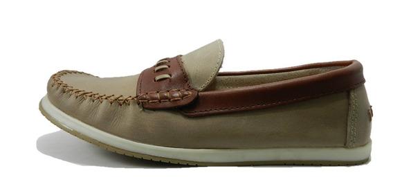 Zapato Mocasin Morris Cuero Vison/cedro 1050