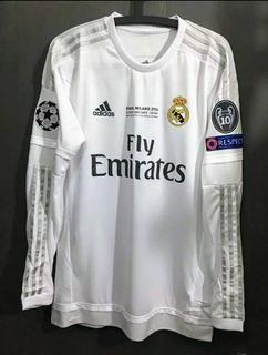 Camisa Real Madrid 2015/16 Cr7 Ronaldo Manga Longa Final