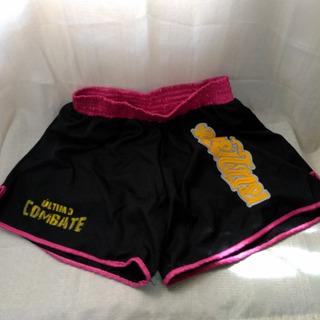 Bermuda Calção Shorts Muay Thai Feminino Preto E Rosa P / M