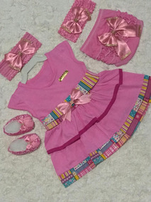 Vestido Luxo Rn A 8 Meses Renda Baby Kit 5 Pç Menina Laço