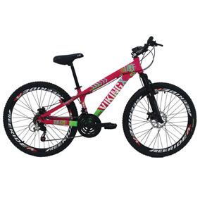 Bicicleta X Tuff25 Aro 26 Freio A Disco Shimano Rosa Viking