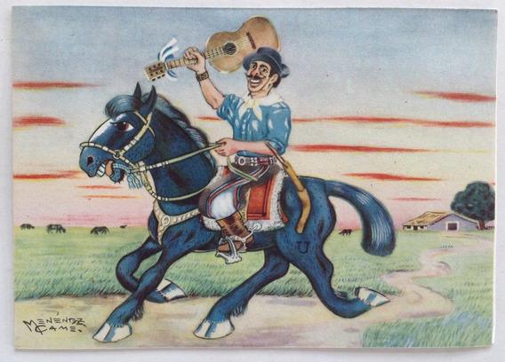 Postal Gauchesca Domingueando Menenez Came 1950