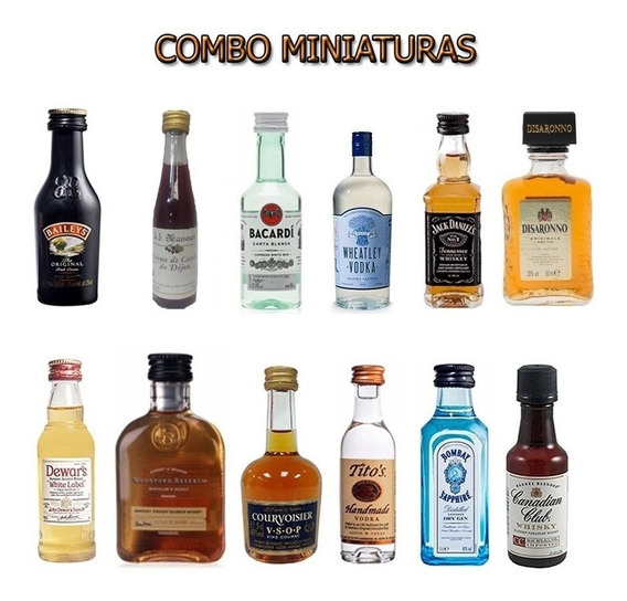 Combo Miniatura Oferta X3 Whisky Gin Licor Vodka A Eleccion