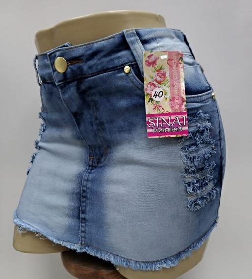 Roupas Femininas Saia Jeans Curta Com Lycra Botoes 36 / 44