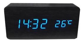 Relogio Mesa Digital Despertado Calendario Preto Led Azul