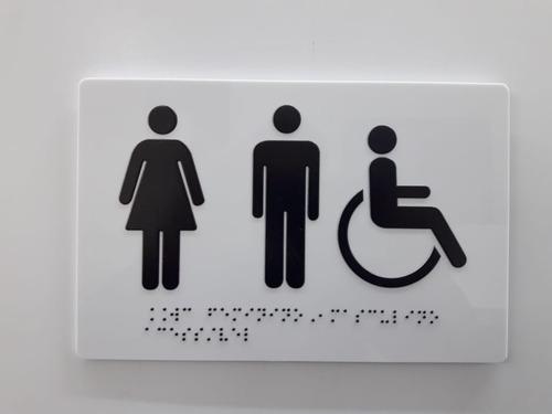 2 Placas Braille Banheiro Unissex Cadeirante 23cmx15cmx3mm