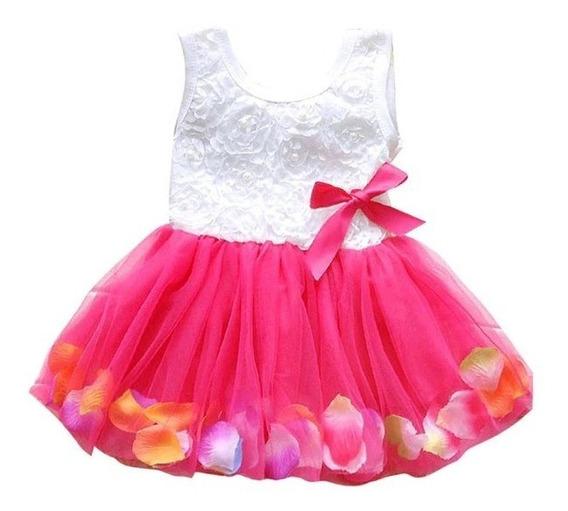 Vestido Tutu Niña Petalos Flores Bebe Rosa