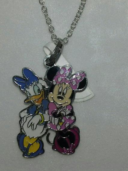 Dije Disney De Daysi Y Minnie Mouse Con Cadena Plata .925