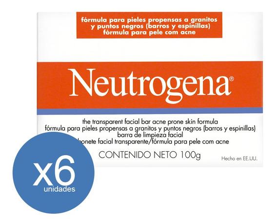 Jabón Neutrogena Barra Línea Acné 100gr 6 Unid - Neutrogena