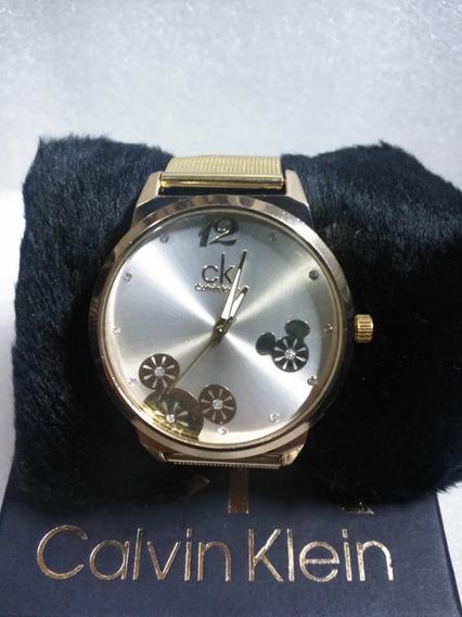 Relógio Feminino Dourado Ck De Luxo + Caixa.