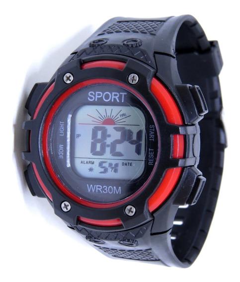 Relógio Sport Digital Original Vermelho Luz Alarme Infantil