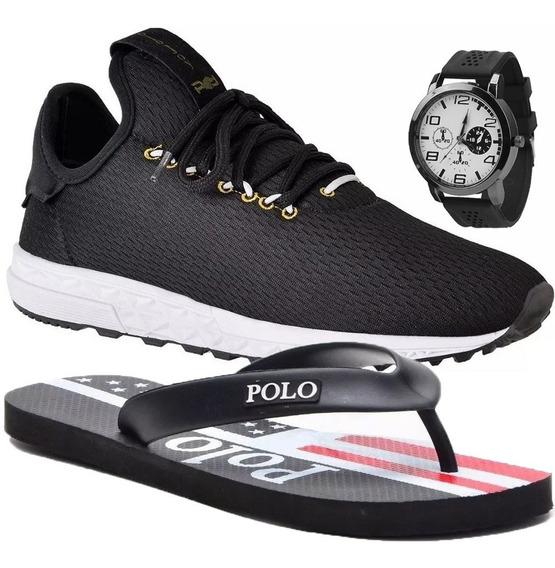 Tênis Masculino Polo Joy Sport C/ Chinelo E Relógio