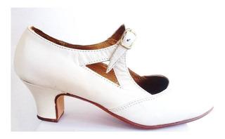 Zapato Español Folklore Para Danza Blancos
