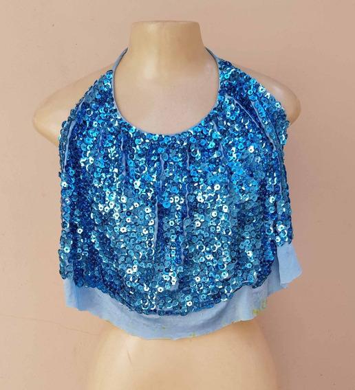 Blusa Brilho Paete Azul - Fantasia - - Usada P/reformar