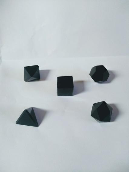 Kit Solidos Platonicos Obsidiana Negra Formas Geometricas