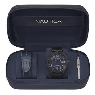 Nautica Mens Hawser Reloj Deportivo De Cuarzo Acero Y Cuero
