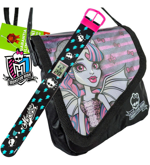 Kit Monster High Relógio De Pulso Digital + Bolsa Rochelle