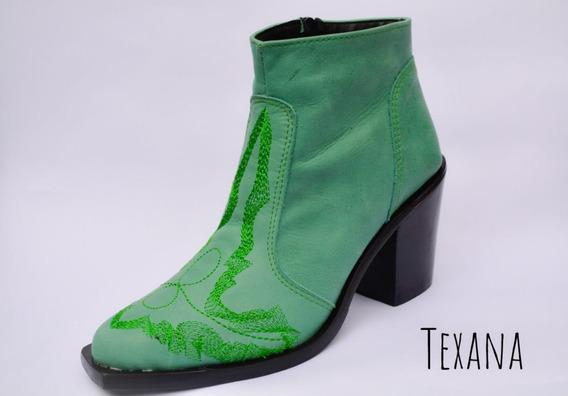 Botas Texanas, Cuero, Suela, Madera Caña Baja, Moda