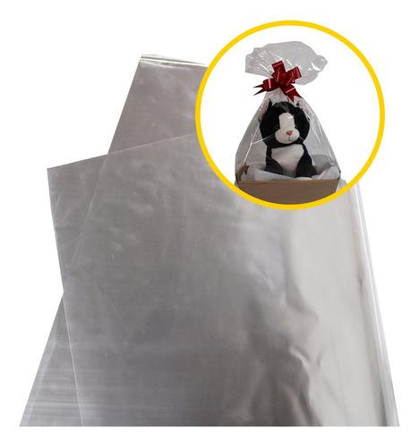 Saco Para Cesta Celofane Embalagem 45x59 Transparente Com 50