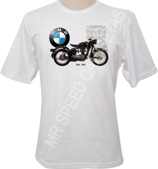 Camiseta Motocicleta Bmw R26 1958 Preta
