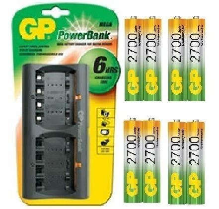Cargador Gp Mas 8 Baterias Aa 2700 Mah Recargables