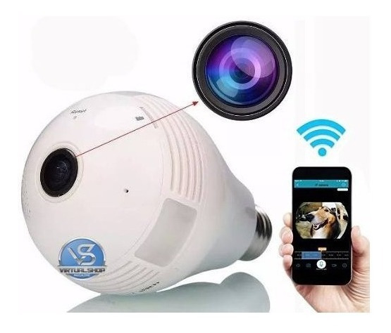 Camera Ip Segurança Lampada Vr 360 Wifi Camera Espia V380