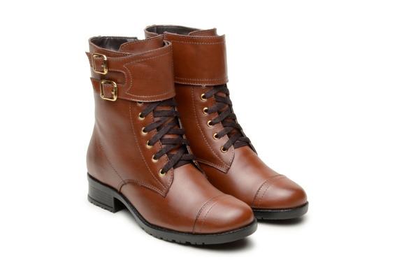 Coturno Feminino Couro Atron Shoes Amarrar 7090 Promoção