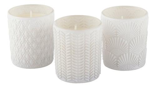 Trio Velas Perfumadas Decorativas Copo Vidro Branco Gardenia