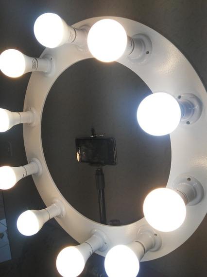 Ring Light 10 Soquetes Branco Com Lâmpadas 9w Bivolt