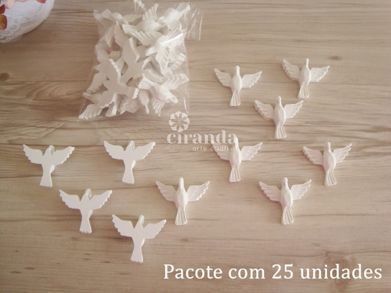 Combo 25 Divinos Espirito Santo Aplique Resina Pombo Da Paz