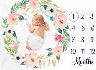 Manta Milestone Bebe Mes A Mes! Baby Shower Nacimiento