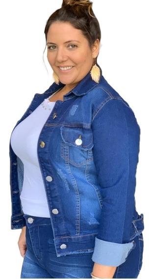 Linda Jaqueta Jeans Plus Size Azul Com Lycra G1 Ao G3