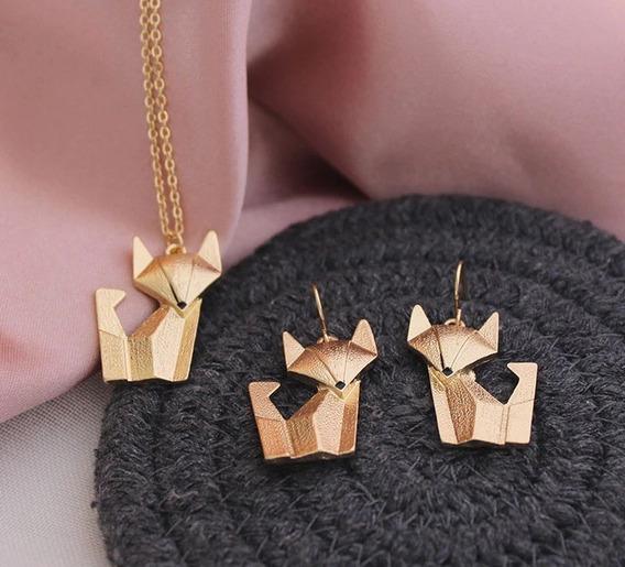 Conjunto Colar E Brinco Raposa Fox Origami