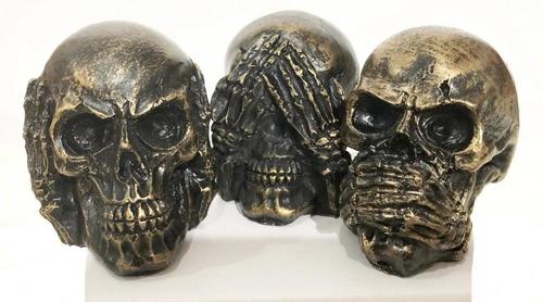 Trio De Crânio Sábios Caveira Decorativo Cego Surdo Mudo 3d