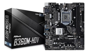 Placa Mãe Asrock B360m-hdv Intel 1151 Ddr4 8ª 9 Geração B360
