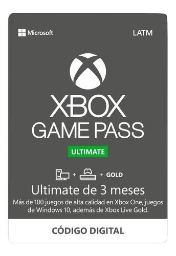 Xbox Game Pass Ultimate 3 Meses Código Original Xbox One/pc
