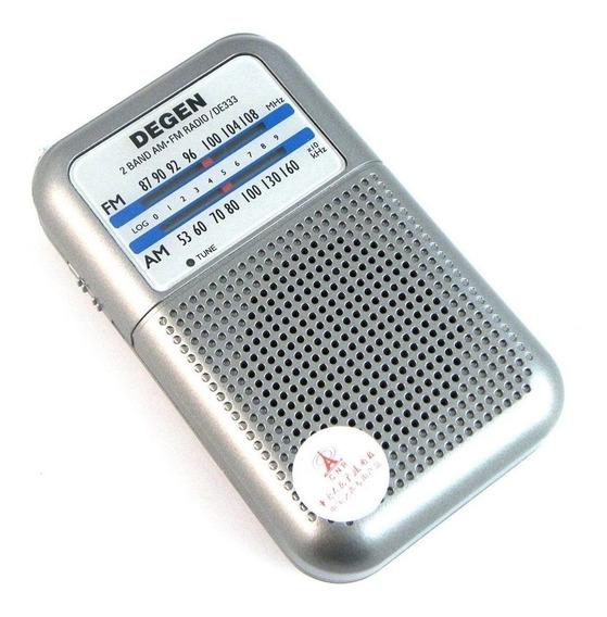 Rádio Receptor De Bolso Degen De333 Am Fm Dual Band Compacto