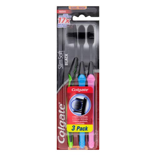 Escova de dentes Colgate Slim Soft Black suave pacote x 3