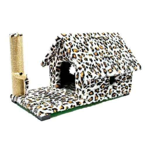 Arranhador Casa Gato Chalé Com Varanda Estampa Animal Nf