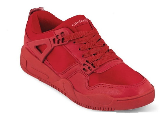 Tenis Sneakers Dama Mujer Moda Comodo Rojocasual