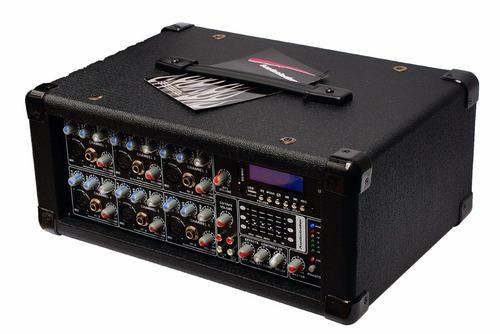 Mezcladora Amplificada De 6ch Potencia 1600w Entradas Usb Sd