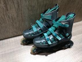 Patins Roller Preto C/ Verde - N° 37 Ao 41