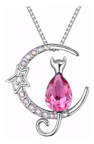 Regalo Mujer Collar Gatito Luna Cristal Swarovski Plata 925