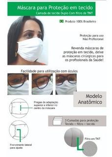 Mascara De Pano Lavavel 2 X 1 Em Tecido E Tnt Interno