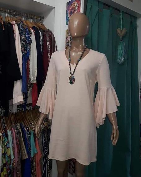 Vestido Crepe Elastizado. Estcote En V. Talles 44 Y 50