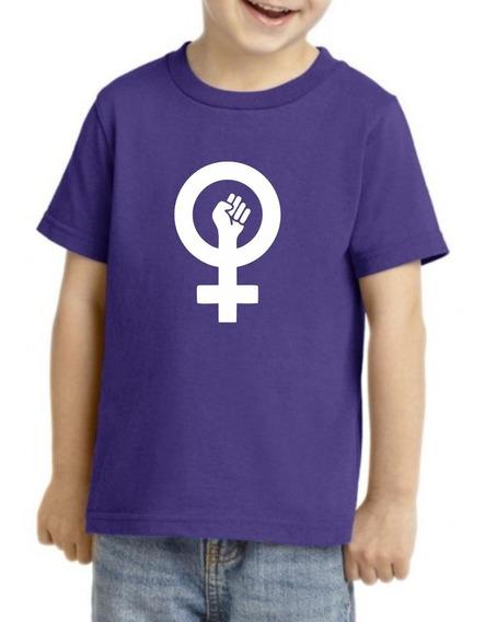 Camiseta Playera Niño Niña Feminista 9 Marzo Girl Power Puño