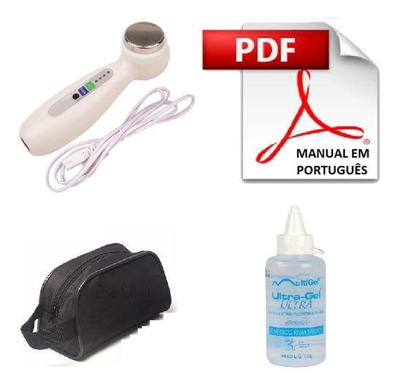 Ultrasom 1 Mhz Portatl Ultrassom Fisioterapia C/ Gel E Bolsa